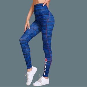 Pants - Printed blue leggings